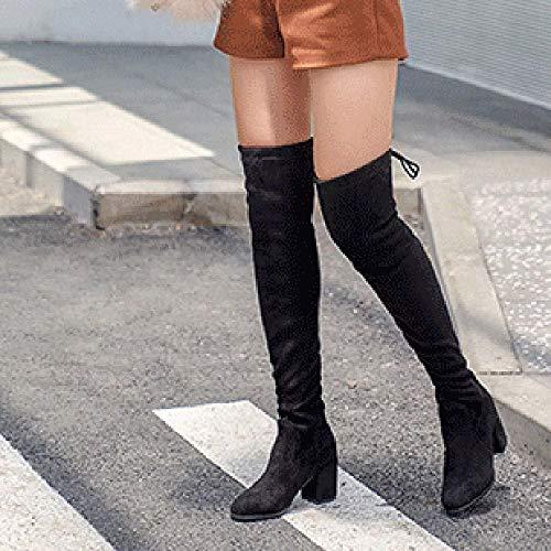 Der Beiläufige Lange Prom Frauen Stiefel Quaste Overknee Reitstiefel Office Warme Stiefel Toe Mitte Stretch Hohe Block Ferse Round ptdw4X4q