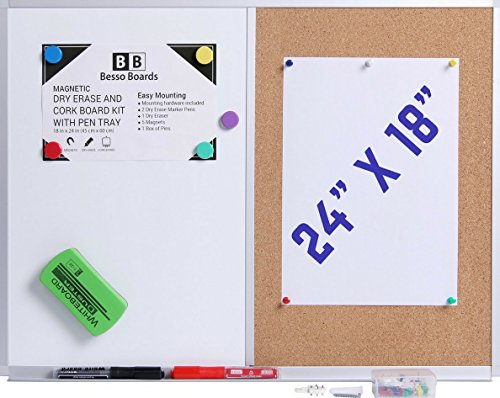24 x 18 White Board and Cork Board Combination, Wall Mounted Magnetic Whiteboard Bulletin Board Combo Set for Home or Office as Vision or Message Board, Dry Erase Markers, Eraser, Magnets, Push Pins -