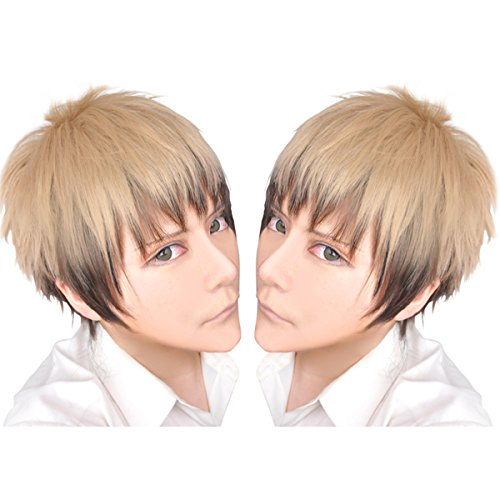 Jean Kirstein Cosplay Costume (Cfalaicos Attack on Titan Linen Mix Short Cosplay Costume Wig Men Boys Hallowmas Synthetic Hair Wigs for Jean Kirstein)