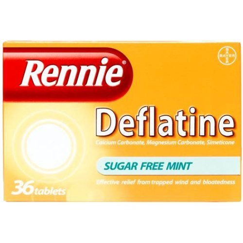 Rennie Deflatine Trapped Wind & Bloatedness Relief Tablets Sugar-Free Mint - 36 Tablets by Rennie