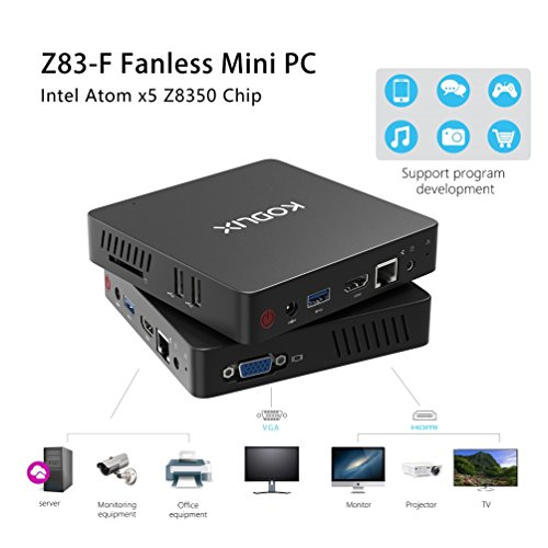 Mini PC, Intel Atom x5-Z8350 Processor (2M Cache, up to 1.92 GHz)4K/4GB/32GB 1000Mbps LAN 2.4/5.8G Dual Band WiFi BT 4.0 Dual Screen Display with HDMI and VGA Ports,Fanless Computer Support Windows 10 by COOFUN (Image #4)