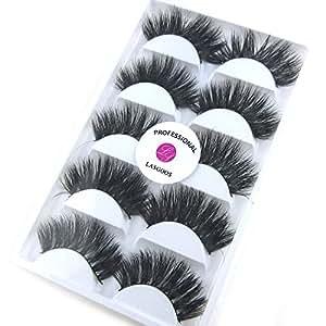 LASGOOS 5Pairs/Box 100% Real Siberian Fur 3D False Eyelashes Messy Thick Very Long Cross Wispy Mink Natural Fake Eye Lashes Wedding Makeup K02