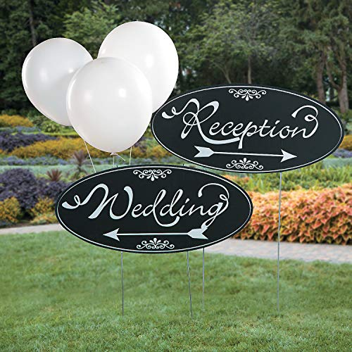 Fun Express - Yard Sign Kit for Wedding - Party Decor - General Decor - Yard Signs - Wedding - 2 Pieces -