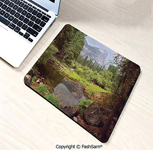 Personalized 3D Mouse Pad Small Spring Forest Distant Mountain Picture of Yosemite National Park Landscape Print for Laptop Desktop(W9.85xL11.8)