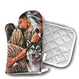wolf steam oven - Indian Maiden and Wolf Native American Oven Mitts Kitchen Cooking Cotton Microwave Oven Gloves Mitts Pot Pad Heat Proof Protected Gloves
