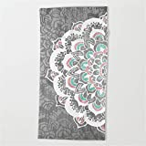 Huisfa Pastel Floral Medallion on Faded Silver Wood Beach Towel 31.5''x51.2''