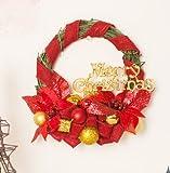 Christmas decorations 30/50cm Christmas vine Wreath Bazaar hotel Window Pendant (50, Red)