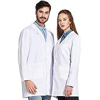 Icertag Bata de Laboratorio Unisex,médico Abrigo Abrigo de Mujer Hombre,Abrigo Blanco para Damas,Adecuado para…