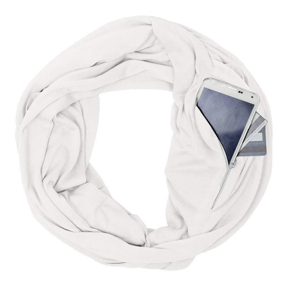 Infinity Loop Scarf, Inkach Unisex Winter Scarves Zipper Secret Pocket Neck Warmer Shawl Wrap (White)