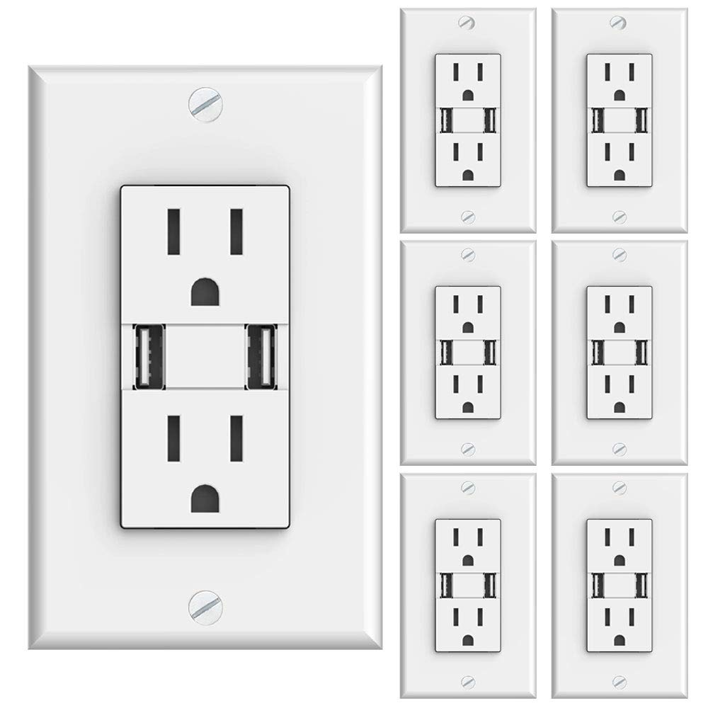 Sunco Lighting 6 Pack Ul Listed High Speed Usb Port Charger And Maximum Number Of Receptacles On 15 Amp Circuit Electrical Diy Duplex Receptacle 31a Charging Capability Tamper Resistant Outlet Wall Plate