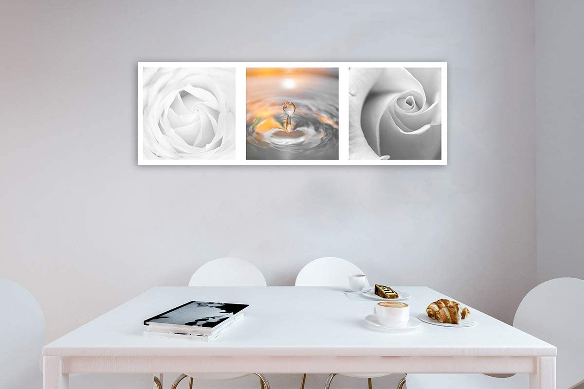 Cuadros en Lienzo Gota Agua Flores Arte Moderno Composición Naranja 15x15 cm