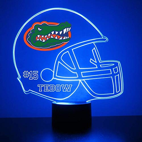Mirror Magic Store Florida Gators Football Helmet LED Night Light with Free Personalization - Night Lamp - Table Lamp - Featuring Licensed Decal