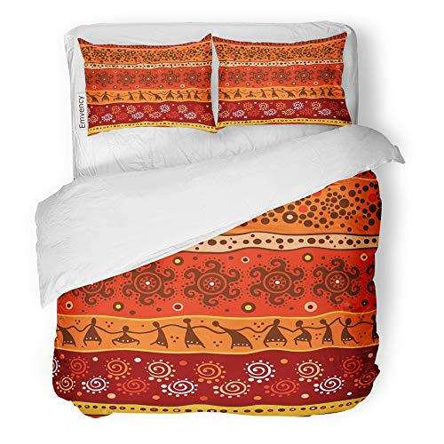 Emvency Decor Duvet Cover Set Full/Queen Size Orange Abstract Red African Pattern Beige Africa Ancient Color Colored Culture 3 Piece Brushed Microfiber Fabric Print Bedding Set Cover