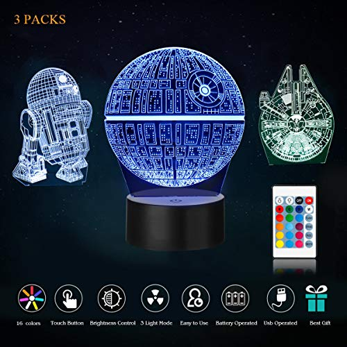 UDGTEE 3D star wars light, 3D LED Night Light Star Wars,3 kind of Patterns,Millennium Falcon,Death Star and R2D2,with 7 light modes,power by USB or 3pcs AA batteries(batteries not Includes)