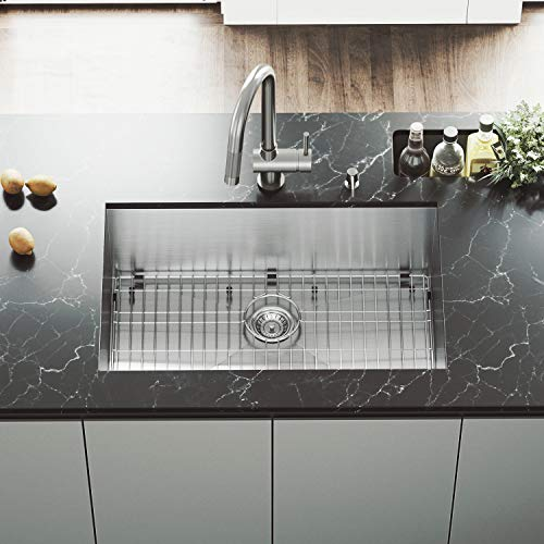 VIGO 30 inch Undermount Single Bowl 16 Gauge Stainless Steel Kitchen Sink with Gramercy Stainless Steel Faucet, Grid, Strainer and Soap Dispenser