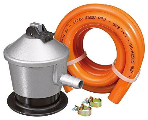 S&M Kit Regulador Gas Butano con Válvula de Seguridad, Gris/Naranja: Amazon.es: Hogar