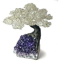 Astro Gallery Of Gems Large Quartz Clustered Gemstone Tree (15 petals) on Amethyst Matrix