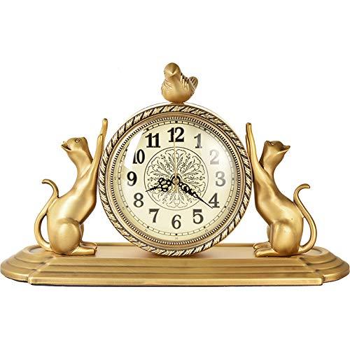 NOBGP Estilo Europeo Vintage Mantel Reloj Antiguo diseno no tictac Barrido de Segunda Mano Cuarzo Movimiento de la bateria numeros operados Escritorio Silent Classic Decor Mesa Clock