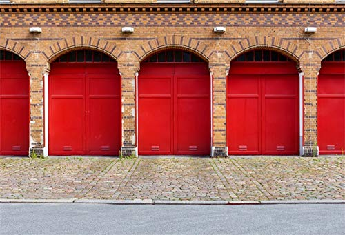 (AOFOTO 10x7ft Vinyl Photography Backdrop Red Garage Doors Fire Station Berlinred Brick Wall and Floor Background for Travel Vacation Video Display TV Film Production Parties Events Studio Drapes)