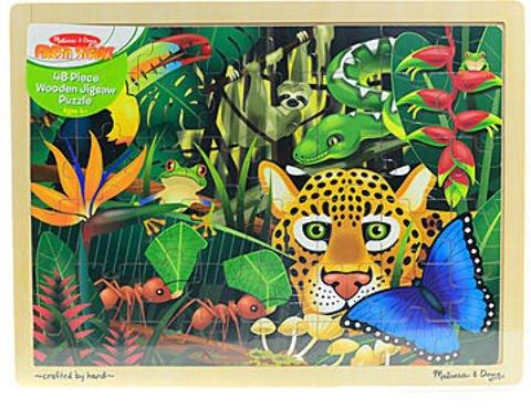 Melissa & Doug Wooden Jigsaw Puzzles (Rainforest) - Product Description