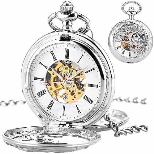 Mens Skeleton Mechanical Pocket Watch -Double Copper Dream Dragon Hollow Double Hunter ManChDa Blue Roman Numerals Black Dial