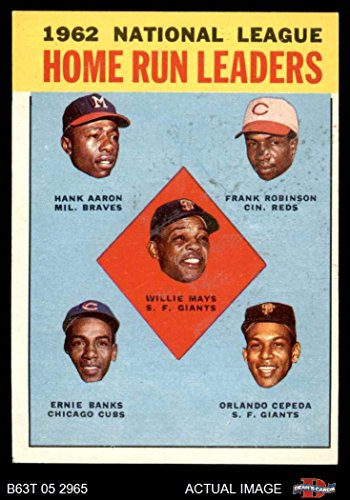 1963 Topps   3 Nl Hr Leaders Hank Aaron   Willie Mays   Frank Robinson   Ernie Banks   Orlando Cepeda Giants   Reds   Braves   Cubs  Baseball Card  Deans Cards 5   Ex Giants   Reds   Braves   Cubs