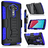 LG G Vista Case, StarShop iRobot Dual Layer Holster Case with Kickstand and Locking Belt Swivel Clip + Premium HD Screen Protector Blue