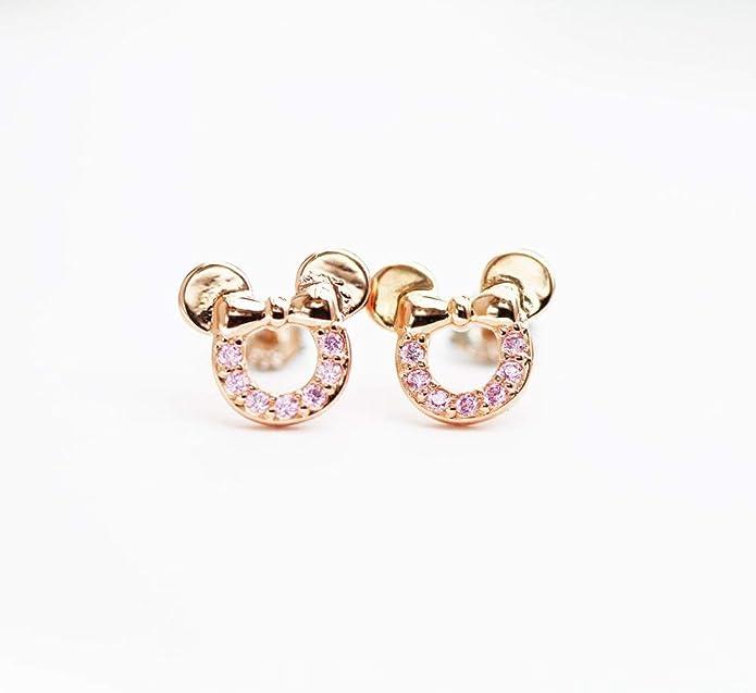 6d9f7104ef0c Pendientes de plata de ley en color rosa oro de circonitas cúbicas de  Findout