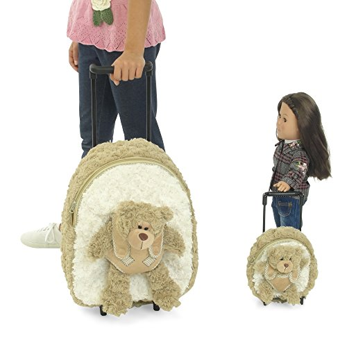 18-inch Doll Luggage | Girl and Doll Matching Backpack / Trolley Set with Detachable Teddy Bears | Fits American Girl Dolls by Emily Rose Doll Clothes