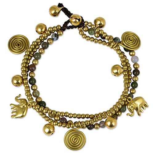 NOVICA Jasper and Brass Beaded Lucky Elephant Charm Bracelet, 7.5