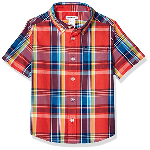 (Amazon Essentials Little Boys' Short-Sleeve Poplin/Chambray Shirt, Madras Red, S (6-7))