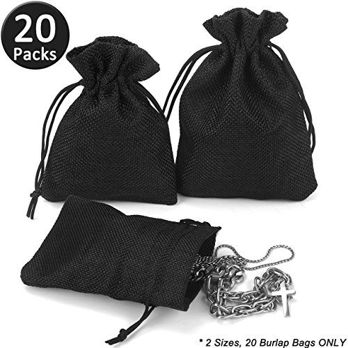 ADVcer Burlap Drawstring Bags Set, 5.5 x 4 and 4.8 x 3.5, Sacks 20 for Small Favor, Gift, Treat, Goodie, Party, Jewelry, Little Sachet, Coffee Bean, Mini Decor, Craft, Candy, Tea Storage (Black)