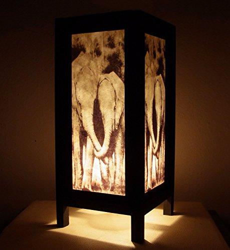 Thai Vintage Handmade Asian Oriental Family Elephant Bedside Table Light or Floor Wood Paper Lamp Shades Home Bedroom Garden Modern Design .