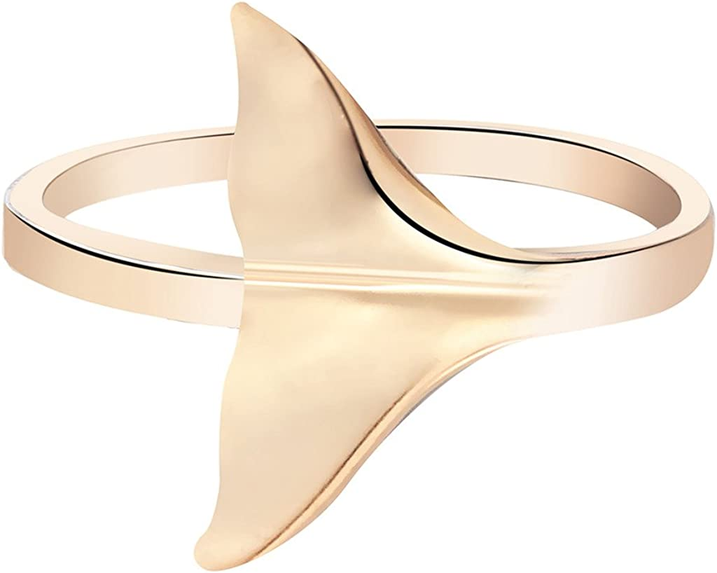 Qiandi Lovely Dolphin Whale Tail Animal Rings for Women Girls Birthday Gift
