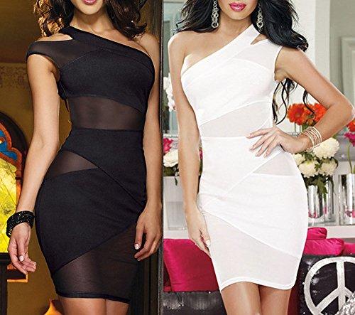 Manches Nu Mini en Club sans Spandex Une Blanc Courte Femme Transparente Robe Epaule Sexy Erotique Dos qw01Hxv7