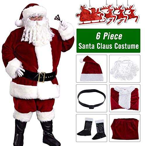 Deluxe Santa Suit Plush Santa Claus Costumes Adult Men's Christmas Clothes 6PC