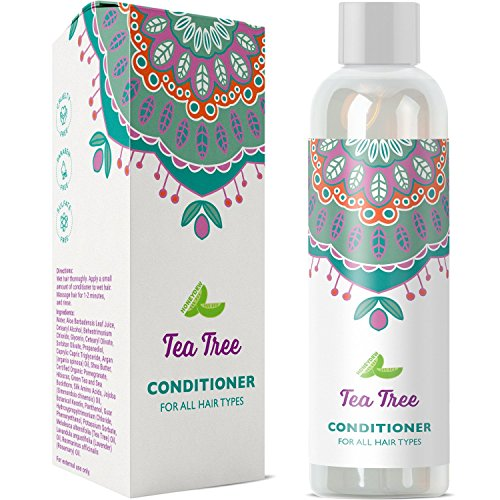 Pure Tea Tree Oil Hair Conditioner Treatment For Dry Curly Damaged Hair With Hair Strengthening Keratin Healing Argan Oil Hair Moisturizer And Rosemary Essential Oil Boosts Circulation For Hair ()