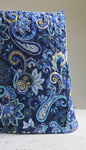 KitchenAid Mixer Cover - Royal Blue & Yellow Floral Paisley Design with Aqua Blue Reverse - Reversible Quilted Kitchen Appliance Dust Cover - Size and Pocket Options