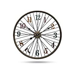 Q&N Large Vintage Metal Wall Clock Retro Style Bicycle Wheel Wall Clock 24Inch Household Decoration Iron Art Clock Wall for Living Room Bedroom Office Café Bar