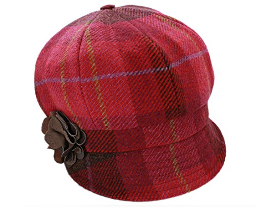 Irish Tweed Cap Women 100% Wool Pink Plaid (Plaid Wool Tweed)