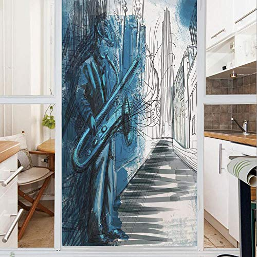 Decorative Window Film,No Glue Frosted Privacy Film,Stained Glass Door Film,Saxophone Man Playing Solo in the Street at Night Vibes Grunge Home Decor,for Home & Office,23.6In. by 78.7In Dark Blue Blac