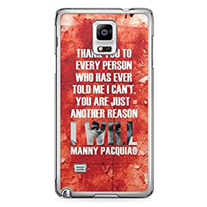 Manny Pacquiao Samsung Note 4 Transparent Edge Case - Quote Thanks to every person
