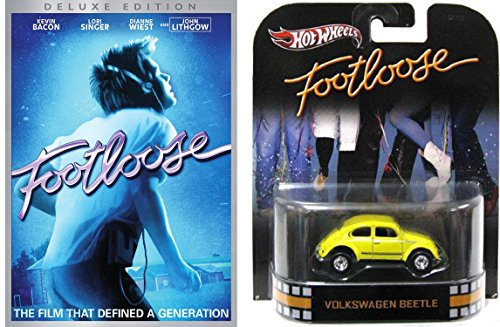 Footloose Deluxe Edition DVD with Hot Wheels Yellow Volkswagen Beetle 1:64 Die-Case Retro Entertainment Car Bundle