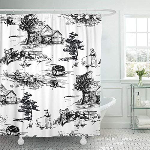 Afagahahs Fabric Shower Curtain Curtains with Hooks Black Classic with Old Town Village Scenes Countryside Life in Toile De Jouy Style Beige and Red Color Black Waterproof Decor Bathroom (Curtain Black Shower Toile)