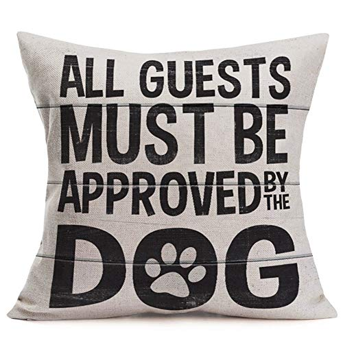 Smilyard Pet Dog Paw Throw Pillow Case Vintage Wood All Guests Must be Approved by The Dog Words Cotton Linen Cushion Cover Square 18x18 Inch