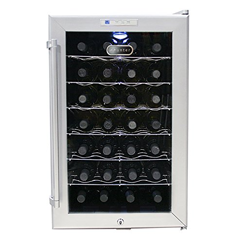 Whynter WC28S SNO 28 Bottle Wine Cooler, Platinum with Lock by Whynter