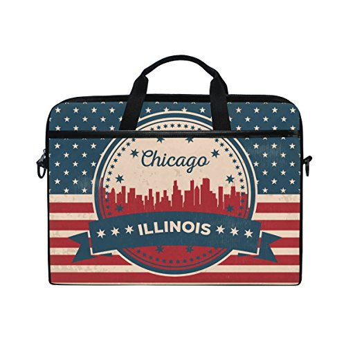 Vintage American Flag Illinois State Chicago Skyline 14 Inch Laptop Shoulder Messenger Bag Case Sleeve Briefcase with Handle for Women Men