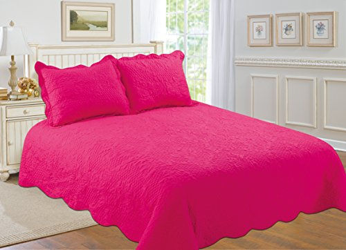 Hot Pink Bedding - All for You 3-piece Reversible Bedspread/ Coverlet / Quilt Set with embroideries (hot pink, full/queen)