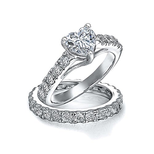 1CT Cubic Zirconia 925 Sterling Silver AAA CZ Heart Shaped Anniversary Wedding Engagement Ring Pave Band Set For Women -
