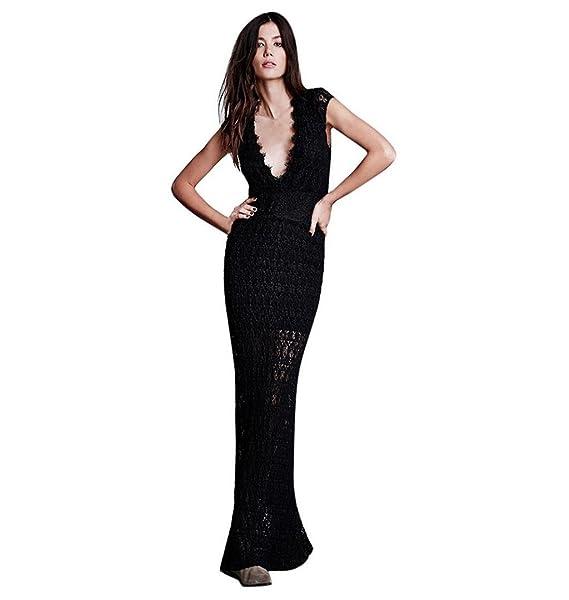 7cf35d08a77d ZEZKT Tiefer V Ausschnitt Elegant Maxi Kleid, Damen Träger Kleid Rückenfrei  Neckholder Abendkleid Schulterfrei Cocktailkleid